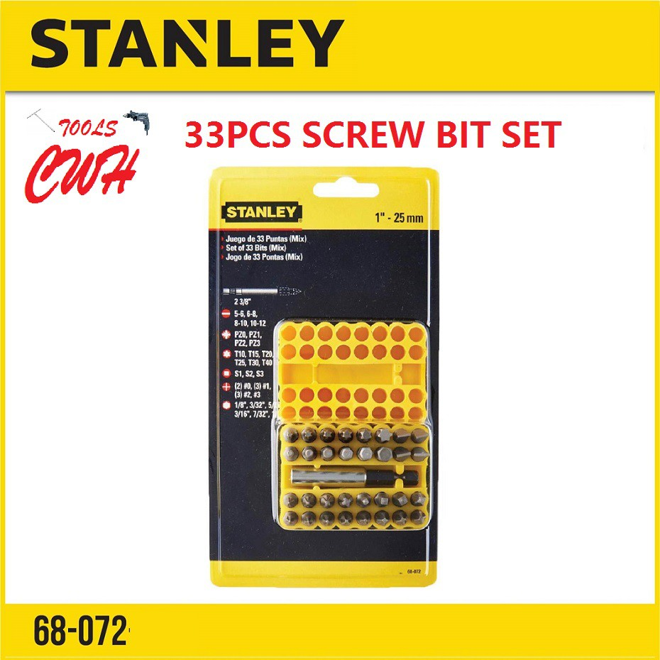 STANLEY 68-072 33PCS SCREWDRIVER BIT SCREW INSERT BIT POWERBIT 68072