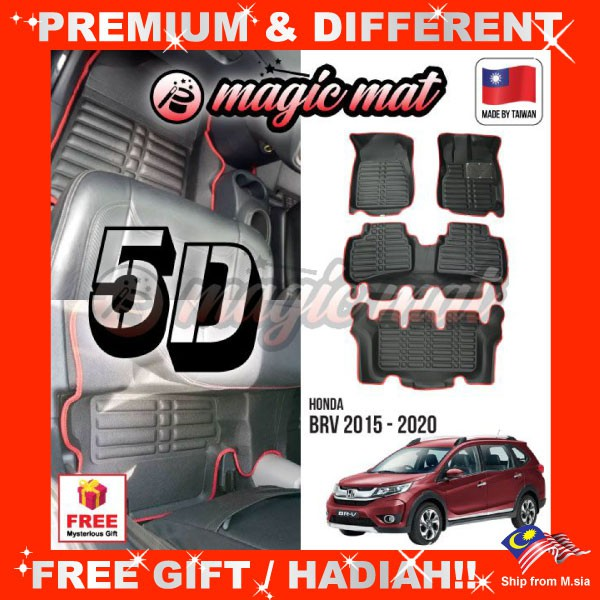 [FREE Gift] HONDA BRV BR-V (7 Seater) MAGIC MAT 5D OEM PU Leather Floor Mat Anti-Slip Easy Clean Carpet