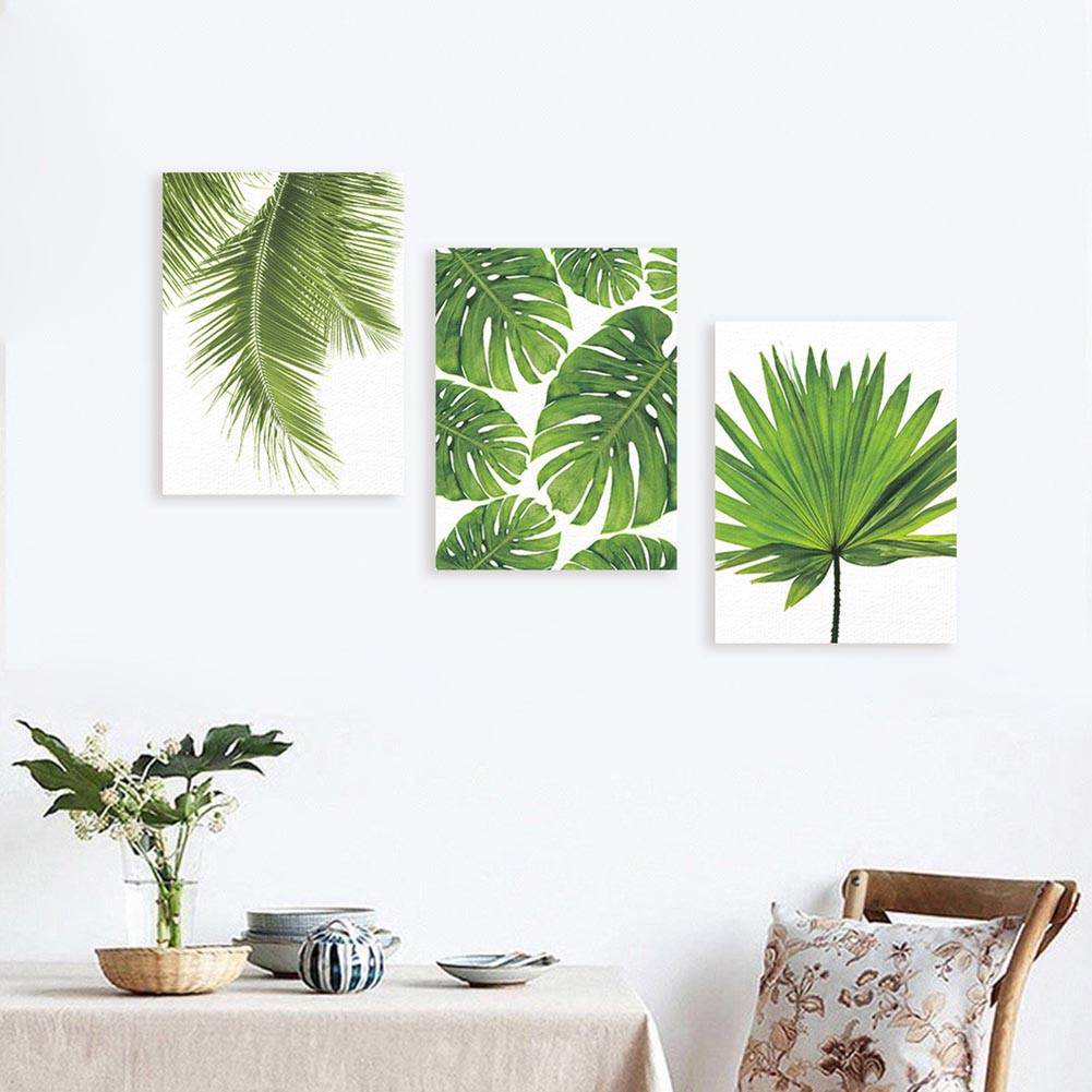 Green Tropical plants Palm leaves on canvas wall picture Living Room Home  Decor