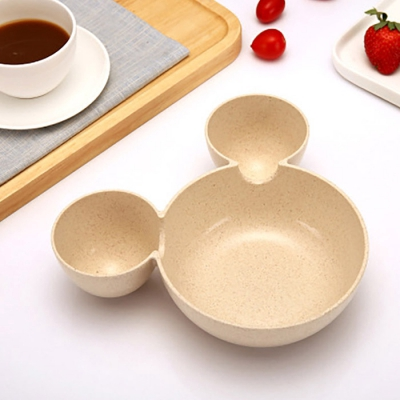 Wheat Straw Cartoon Children's Package Bowl Tableware (BEIGE)