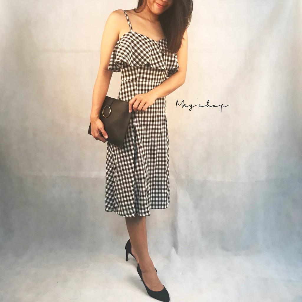[ Clearance Stock ] Plaid Sling Dress Retro Tube Top Halter Sleeveless Slim Mid-length Skirt Women's