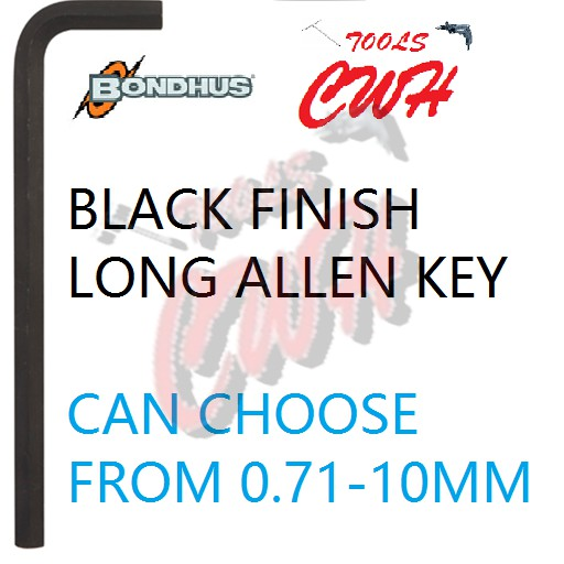 0.71MM-10MM BONDHUS USA BLACK LONG ALLEN HEX KEY HEXAGON DRIVER CWH TOOLS