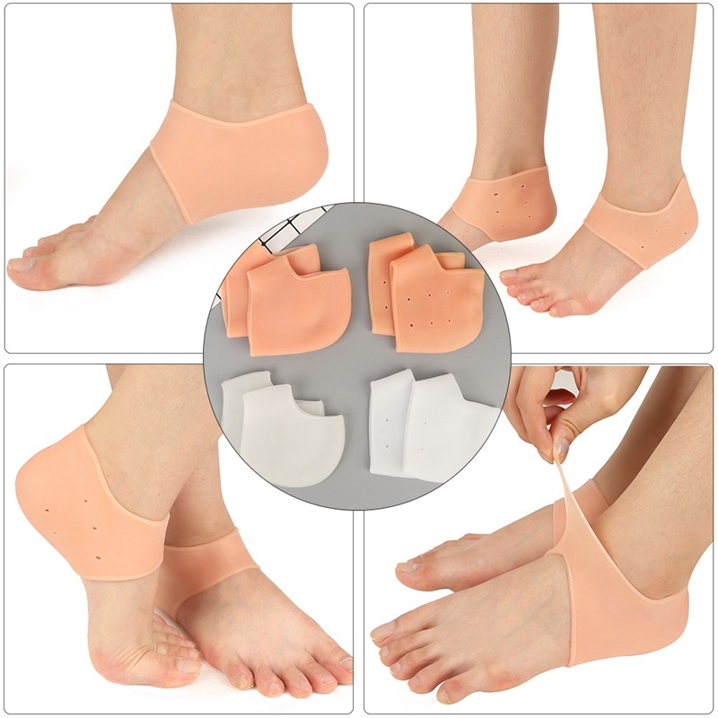 Silicone Gel Heel Protector Moisturising Feet Foot Pain Relief Socks Breathale