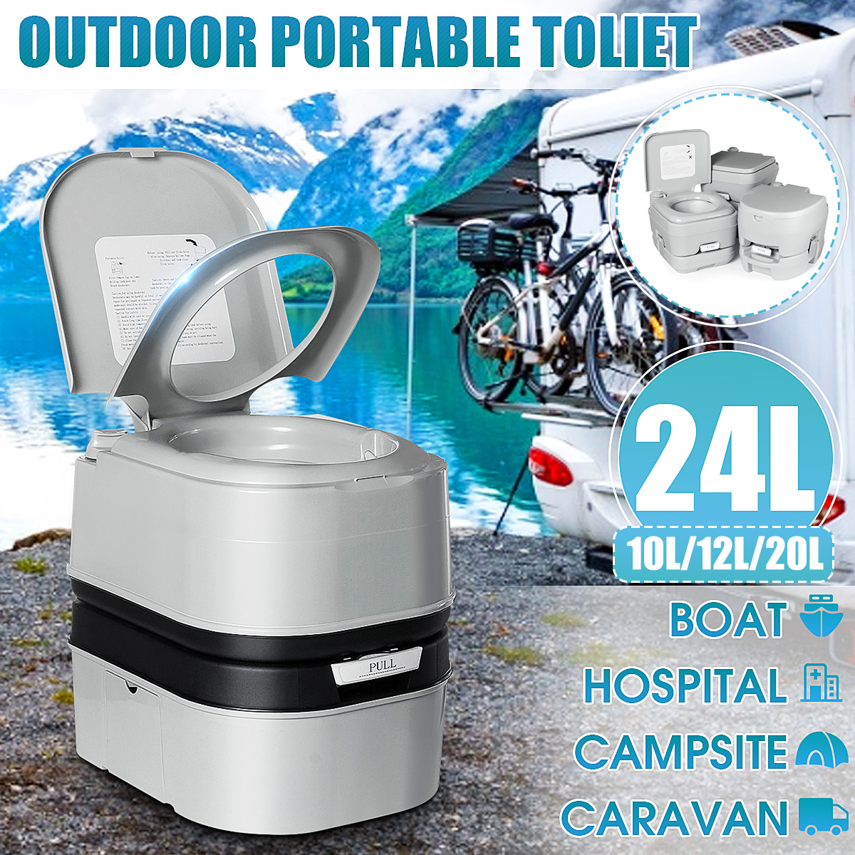 Portable Toilet Mobile Camping Chemical WC Outdoor Picnic Festivals CH