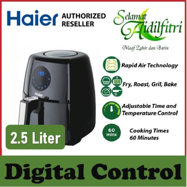 【READY STOCK】 Haier 2.5L Digital Air Fryer - 4 Functions (Fry, Roast, Grill, Bake) - 1 Year Haier Warranty - 2.5L