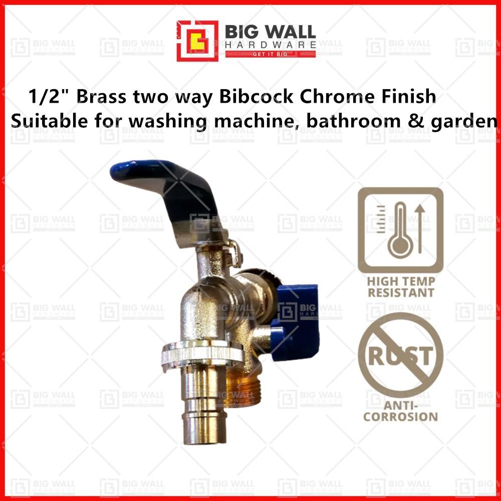 "OEM 1/2"" Brass two way Bibcock Chrome Finish Big Wall Hardware"