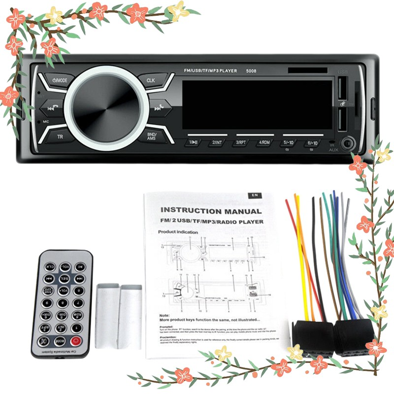 Car Stereo Audio Bluetooth In-Dash Fm Aux Input Receiver Tf 2 Usb Mp3 Player