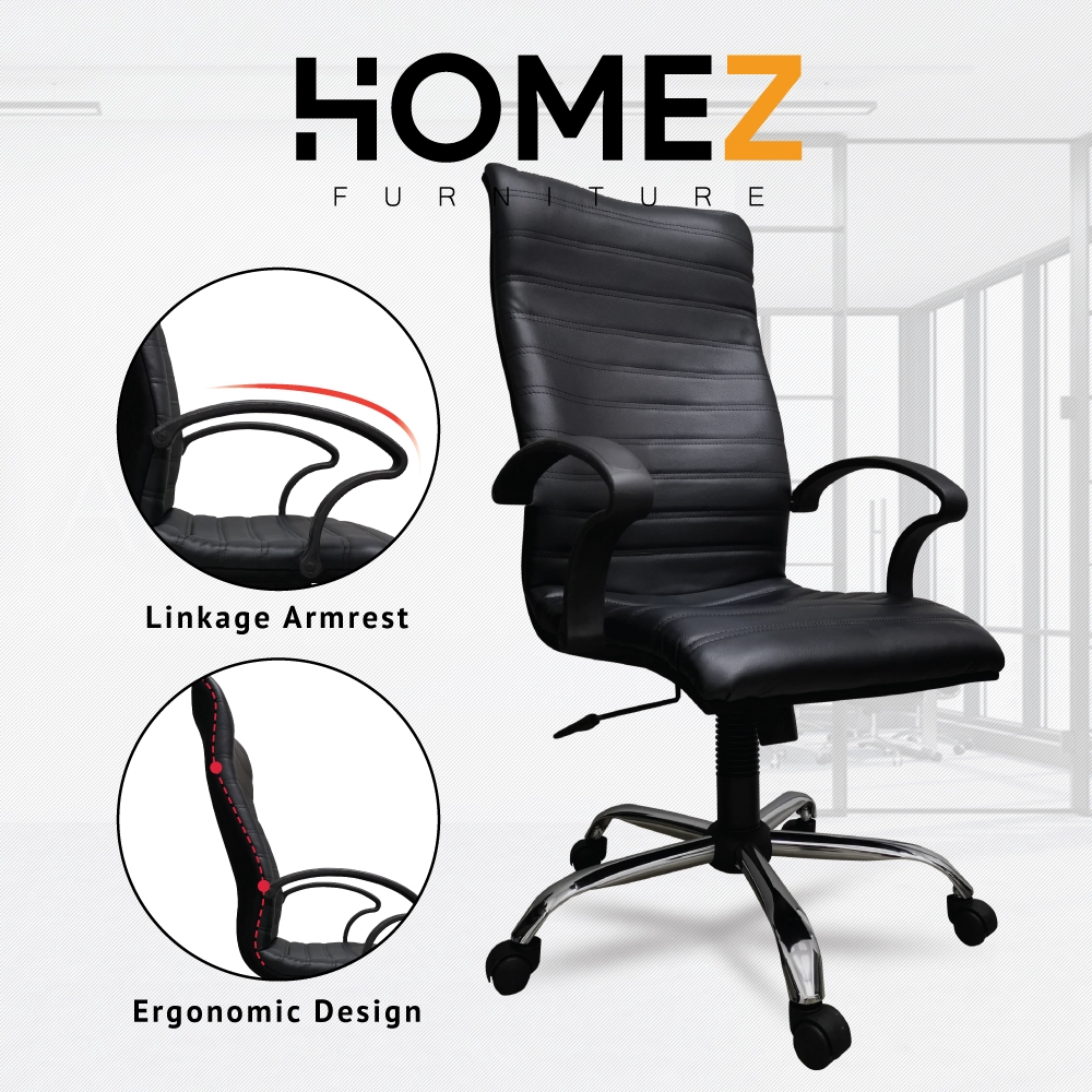 3V Excecutive High Back Office Chair / Kerusi Pejabat with Fixed Arm and Adjustable Height (PVC Cushion) - ECC7091L-BLK