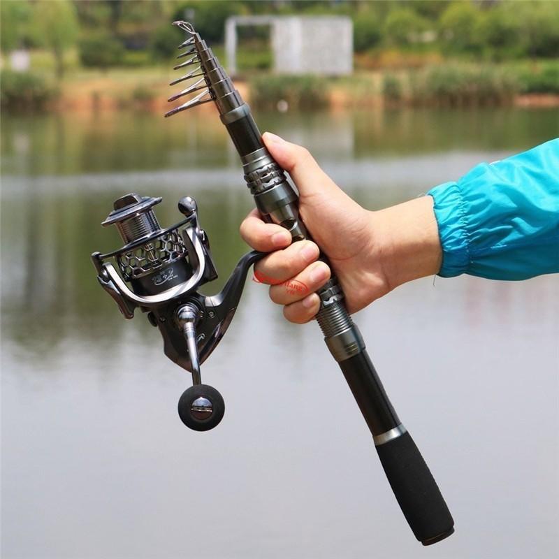 Telescopic Fishing Rod 1.8M-3.3M Travel Saltwater Freshwater Spinning Pole