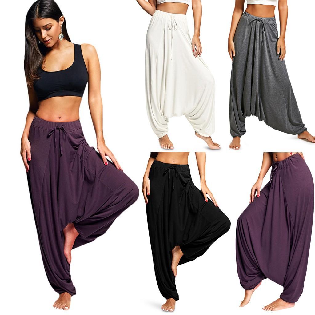 Womens Linen Harem Pants Ladies Summer Workout Plus Size Casual Losse Tied Solid Yoga Pants Trouser