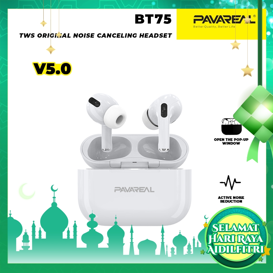 PAVAREAL PA-BT75 TWS Smart Touch V5.0 Bluetooth Wireless Headset Active Noise Cancellation Hi-Fi Stereo Call Siri Awake