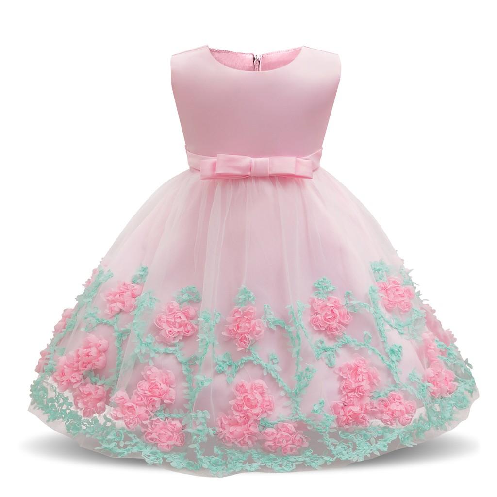 Baby Girl 7 Year Birthday Dress Flower Wedding Gown Tutu Party Kid Clothes  7-7M