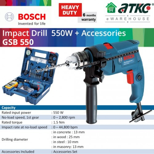 BOSCH GSB 550 Impact Drill Professional 550W with Accessories Set