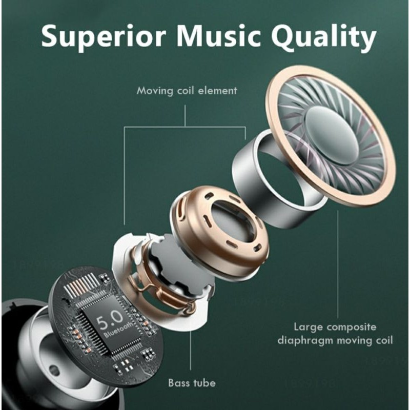 Wiresto TWS Wireless Bluetooth Earphone Waterproof Sports Headphone 9D Hifi Earbud Noise Canceling With Microphone