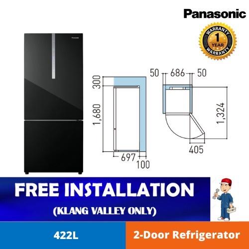 Panasonic 422L 2-door Bottom Freezer Refrigerator NR-BX421WGKM Glass Door Series