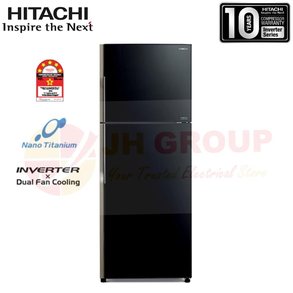 ( NEW ) HITACHI JAPAN R-VG490P8M GBK 443L INVERTER 2 DOOR GLASS REFRIGERATOR