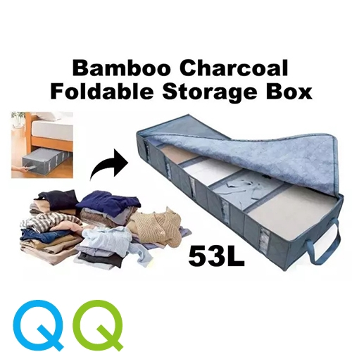 Qq 5 Slot Foldable Bamboo Charcoal Fiber Non Woven With Clear Window Under Bed Long Zipper Storage Organiser Box Bags Shopee Malaysia
