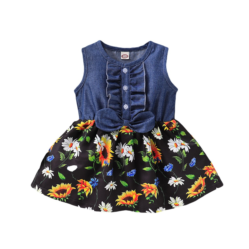 Holes Stitching Denim Shorts 2pcs Outfits Cute Toddler Baby Girl Clothes Set Sleeveless Vest