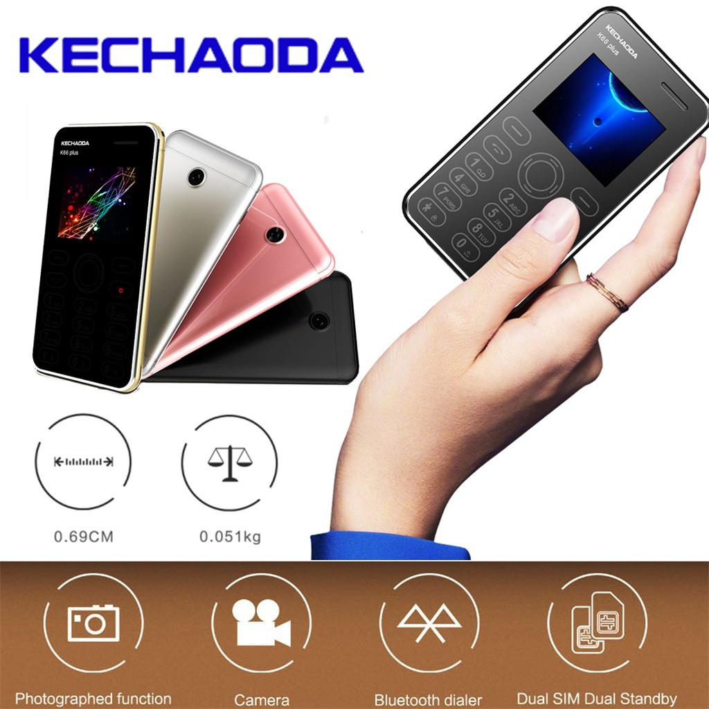 Kechaoda K66Plus Ultra-slim Cell Phone Credit Card Size Dual SIM Unlocked  GSM M5