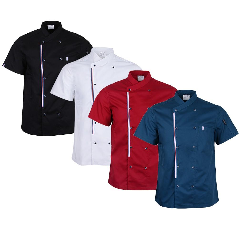 Double Breasted Chef Jackets Coat Short Sleeves Shirt Kitchen Uniforms Unisex