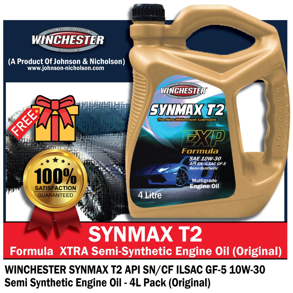 Winchester Synmax T2 10w30 4L Semi Synthetic SN Engine Oil Car Lubricant