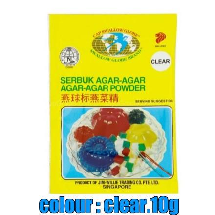 Swallow Globe Serbuk Agar-Agar / AGAR-AGAR Powder ~ Clear Colour 10g ( Free Fragile + Bubblewrap Packing )