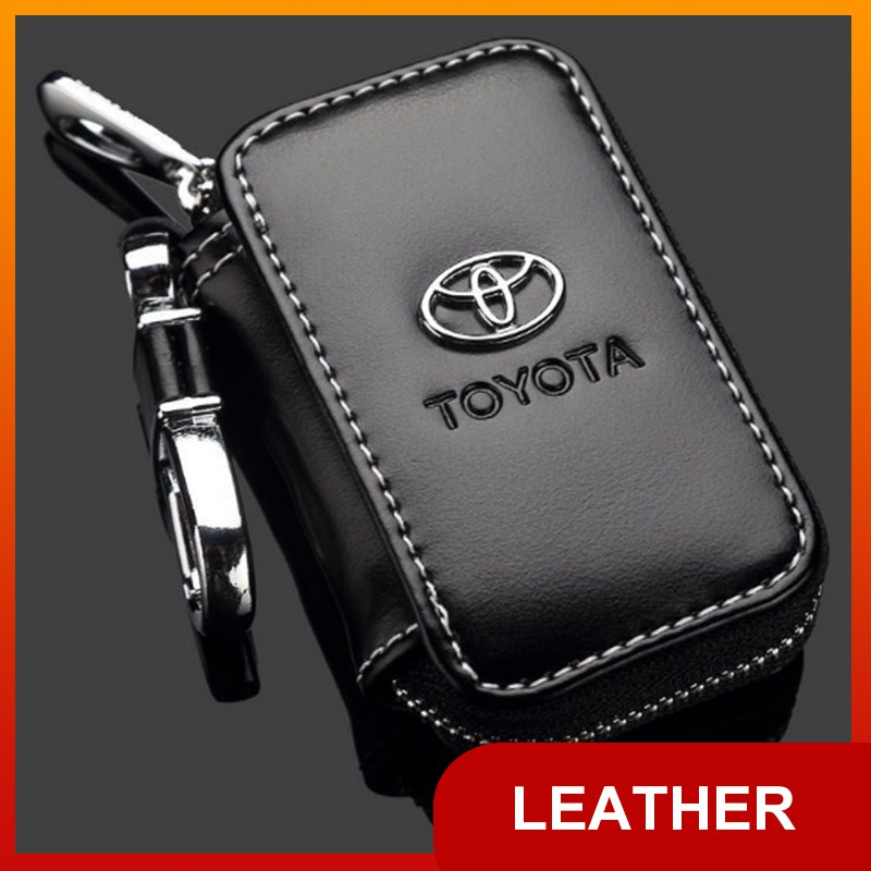 Leather Metal Car Keychain Keyring Purse Bag Key Stainless Steel Key Ring Toyota