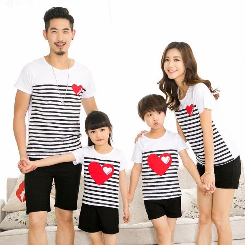 Family Clothing Men Women Boy Girl Striped Heart T-shirt And Black Shorts |  Shopee Malaysia