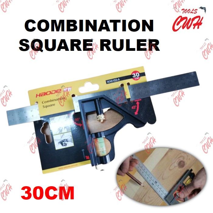 "30CM (12"") PRC COMBINATION SQUARE RULER MEASURER MEASUREMENT SQUARE ANGLE RULER STRAIGHT RULER"