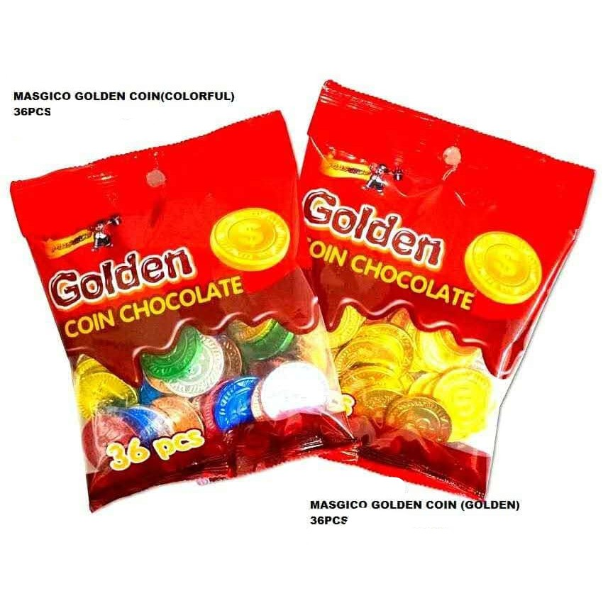 GOLDEN COLOURFUL COIN CHOCOLATE 36PCS