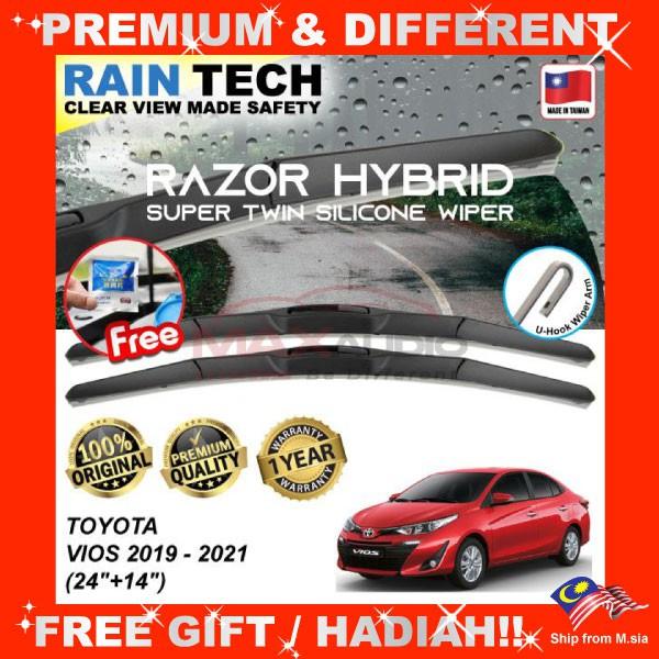 [FREE Gift] TOYOTA VIOS 2019 - 2021 (24/14) RAIN-TECH RAZOR HYBRID Silicone Aerodynamic Clean Wipe Safety Wiper Blade
