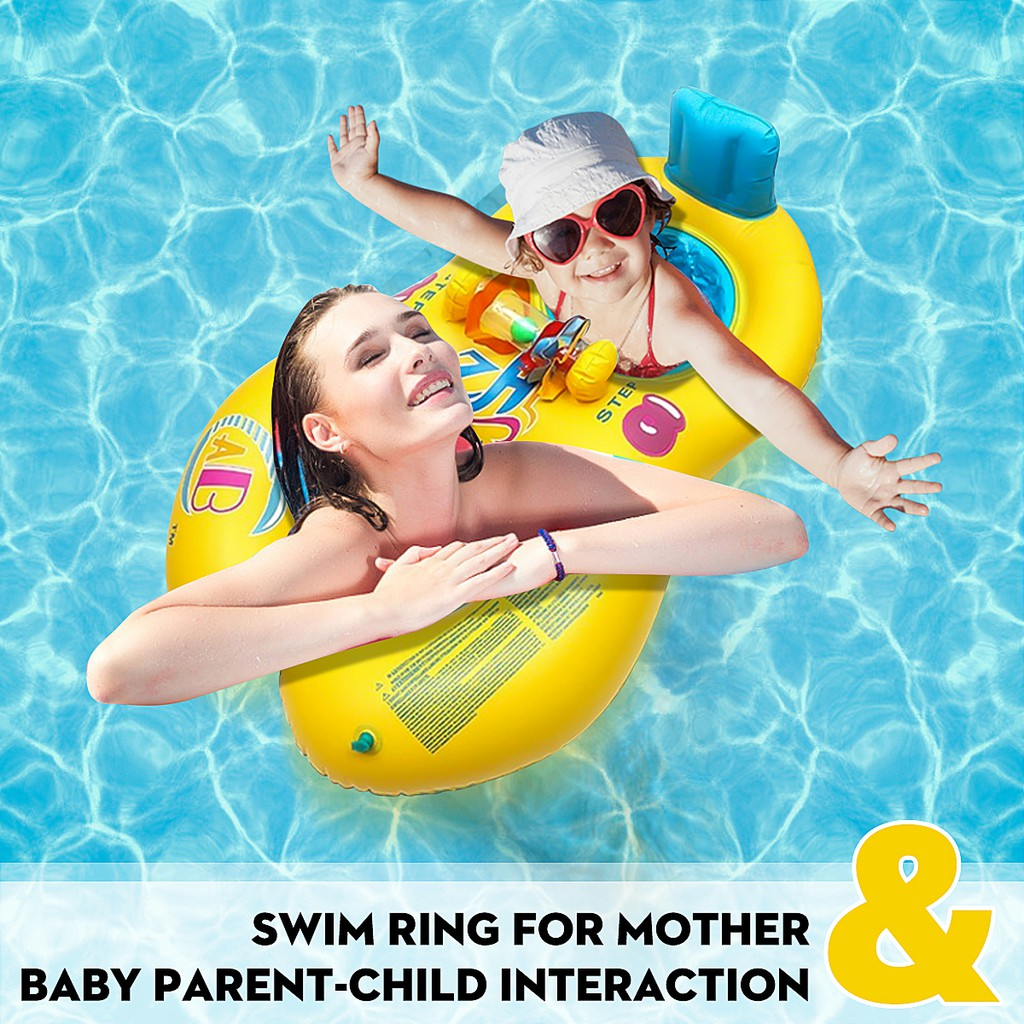 Swimming Ring Inflatable Mother Child Float Kid Portable Water Fun Raft Seat Toy