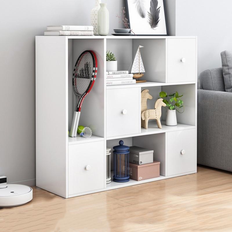 GDeal Living Room Minimalist Bookshelf Simple Modern Large Capacity Storage Rack With Door