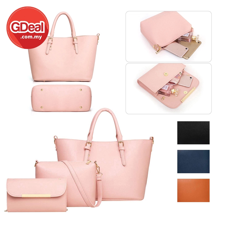 GDeal Women Fashion Elegant PU Texture European Style 3 in 1 Casual Sling Messenger Tote Handbags With Pouch