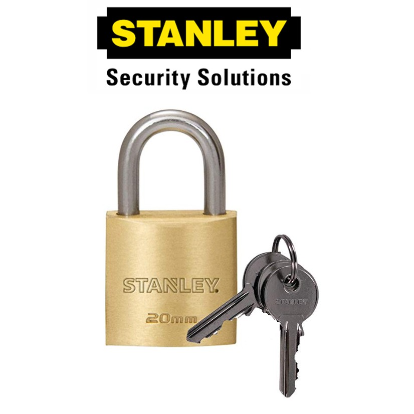 STANLEY S824-645 BRASS PADLOCKS STANDARD SHACKLE '20MM SECURITY LOCK