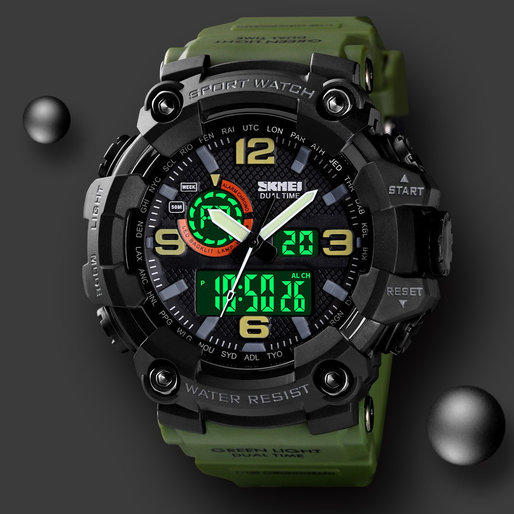 SKMEI 1520 (Local Seller )Dual Display Sport Watch Men Waterproof Countdown Alarm Watches