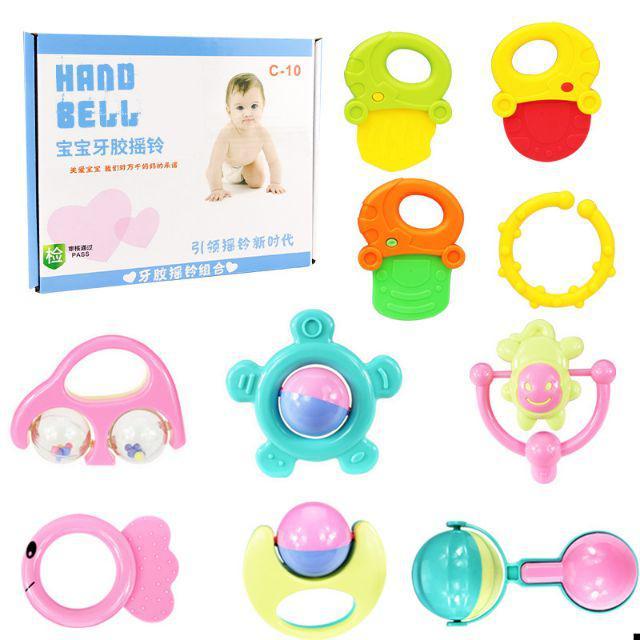 [ READY STOCK ]  10 set Baby Teether Rattle Newborn Educational Toy Rattle Kid Budak Jualan Murah Early Learning Pretend