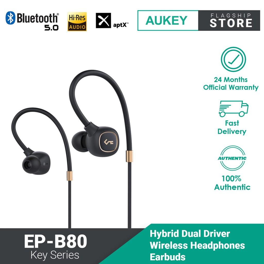 AUKEY Key Series EP-B80 Bluetooth 5 Wireless Headphones Earbuds with Hybrid Driver System, High Fidelity Sound, aptX