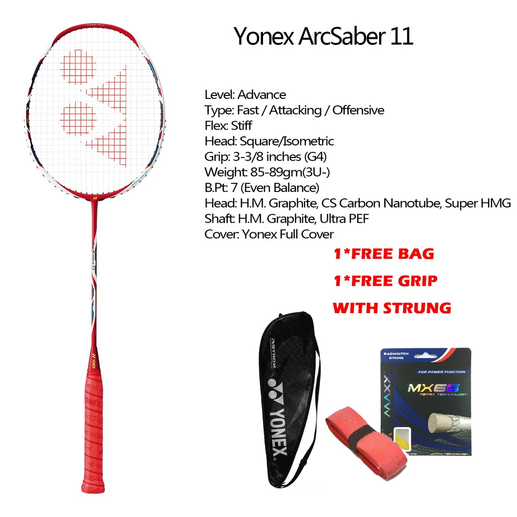 ไม้แบดมินตัน YONEX ARCSABER 11 Full Carbon Single Badminton Racket Made in