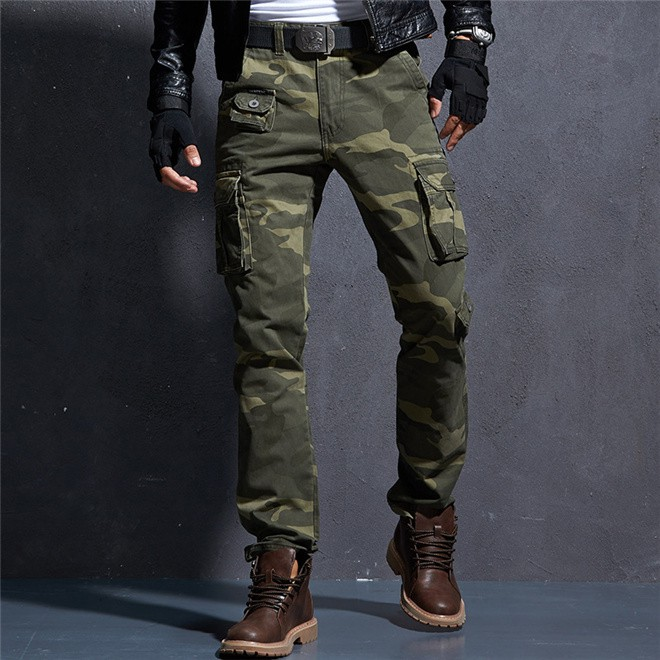 Mens Outdoor Camouflage Military Army Cargo Combat Pants Straight Trousers Baggy