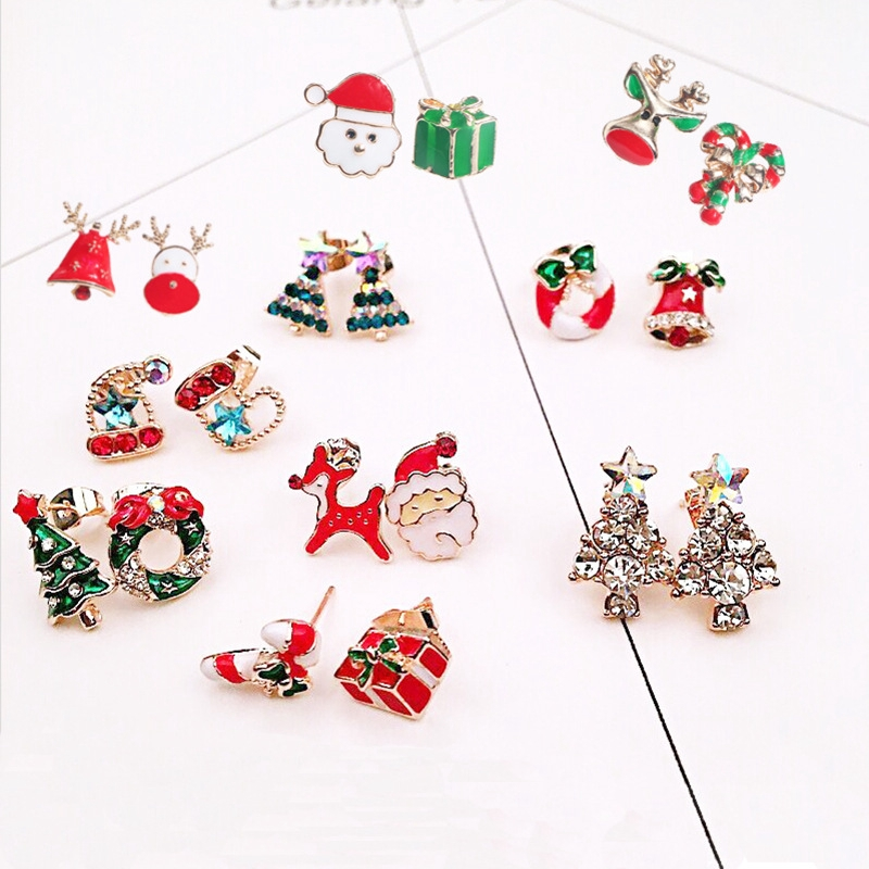 Christmas Shoe Tree.Fashion Women Girls Cute Christmas Earring Hat Shoe Tree Shape Stud Earring Gift