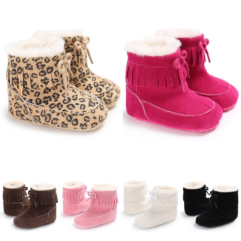 Ec Fashion Baby Tassels Soft Sole Snow Boot Soft Crib Shoes Toddler Boots Pink, 6~12 Months