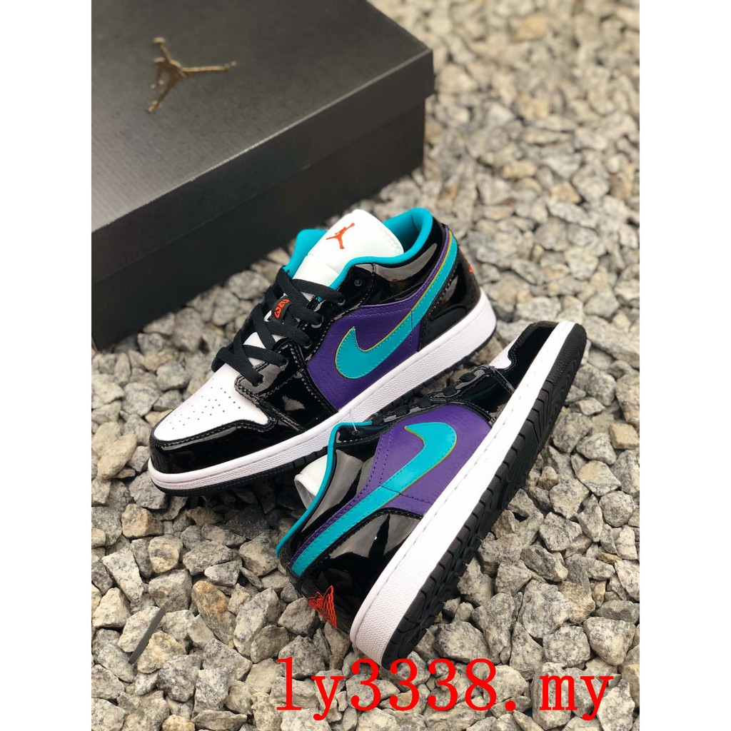 100% original Nike Air Jordan 1 LOW Black Court Purple Turbo Green GS 2019