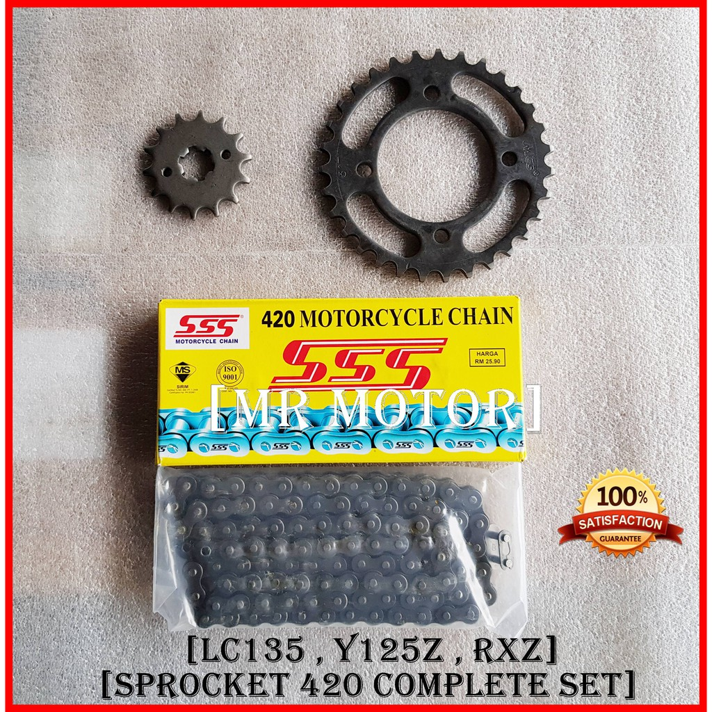 Chain 420 SSS Sprocket 420 SET Yamaha RXZ , Y125z , LC135