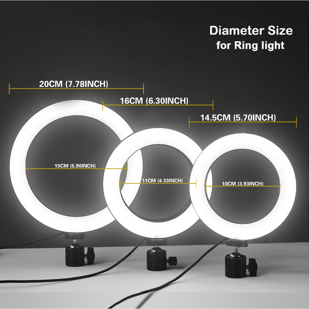 LED Ring Light with Tripod Stand /& Phone Holder for Live Streaming /& YouTube Video Dimmable Desk Makeup Ring Light for Photography Size : 16CM