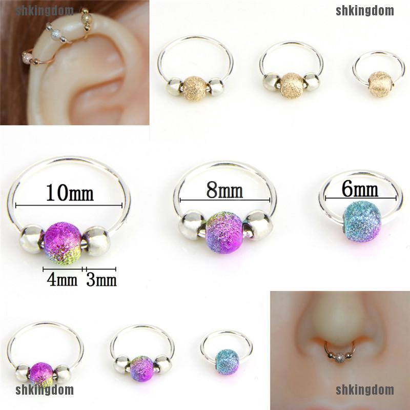 Stainless Steel Nose Ring Beads Nostril Hoop Nose Earring