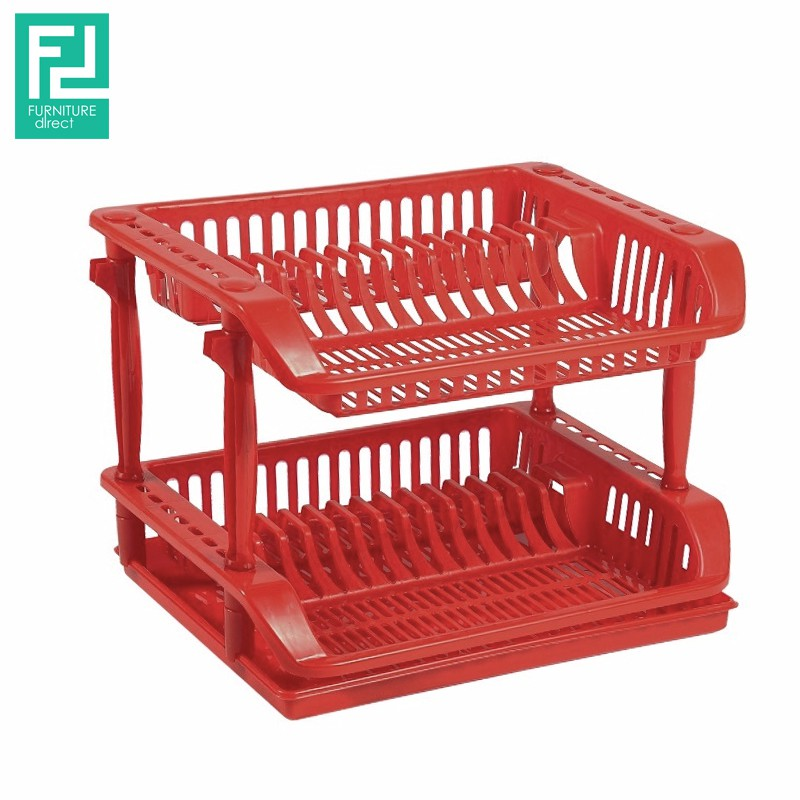 Felton FDL1256 double layer dish drainer- red