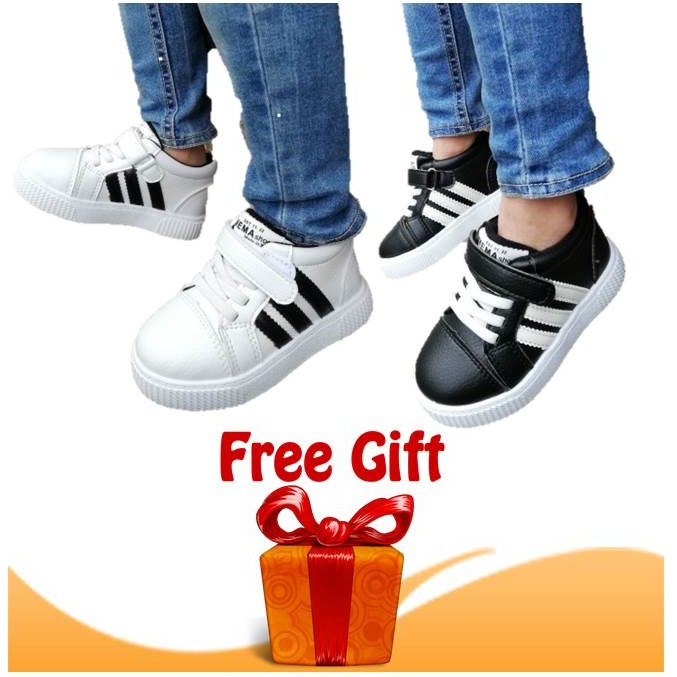 Kids Shoes Adidas Hi Cut Sneakers Fashion Style by OEM Kasut Budak Unisex (Black/White) with FREE GIFT