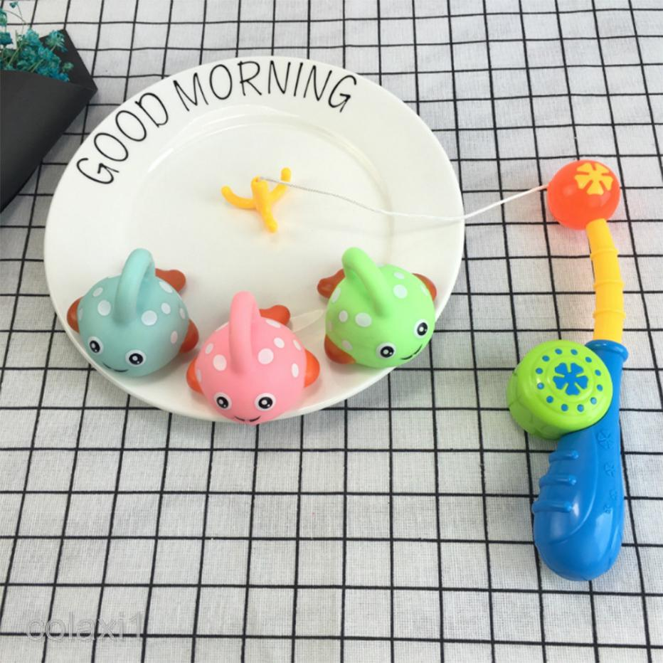 4pcs Fish Rod Set Kids Baby Fishing Pretend Game Preschool Play Bathtime Toy