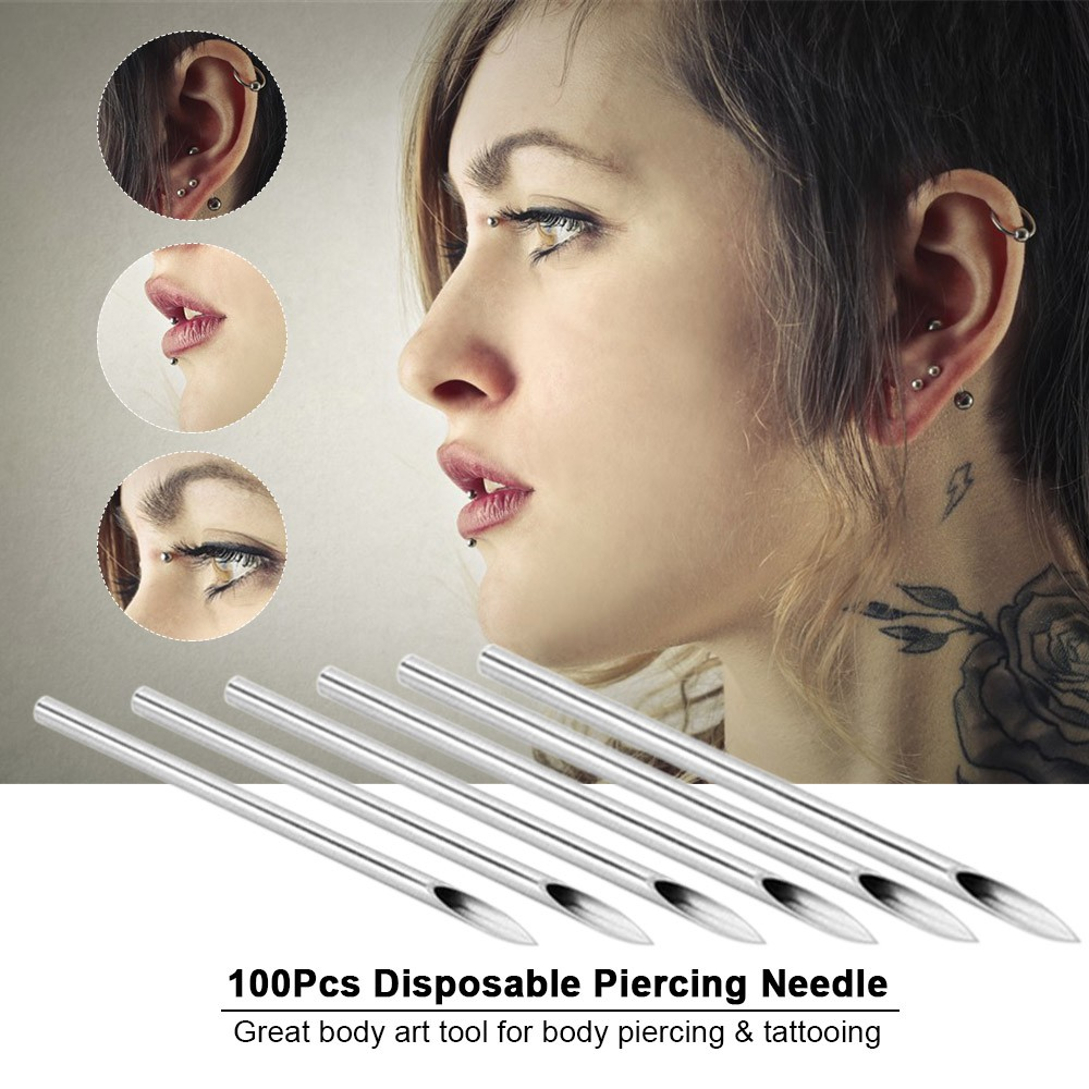 100Pcs/Box Disposable Piercing Needle Stainless Steel Sterile Body Piercing  Need